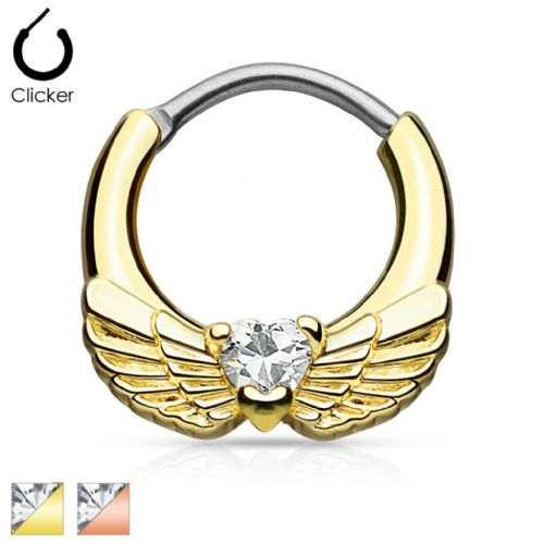 Gold IP Septum Clicker Nose Daith with Angel Wings and Clear CZ Gem